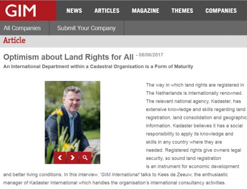 Optimism about Land Rights for All (GIM International)