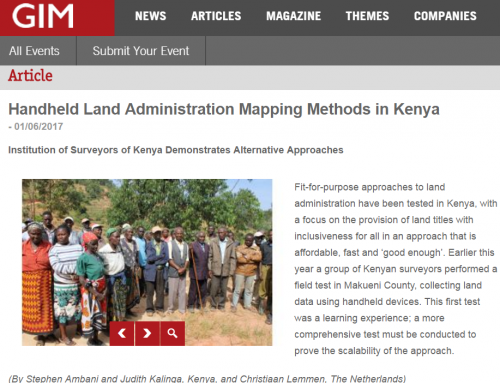 Handheld Land Administration Mapping Methods in Kenya (GIM International)